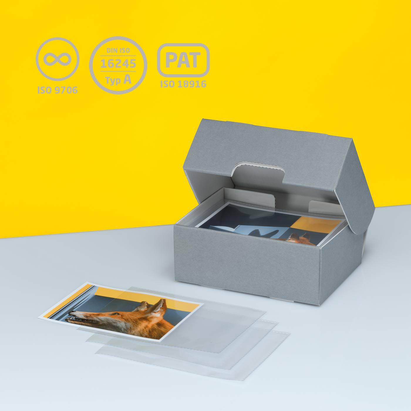 Fotobox für liegende Aufbewahrung