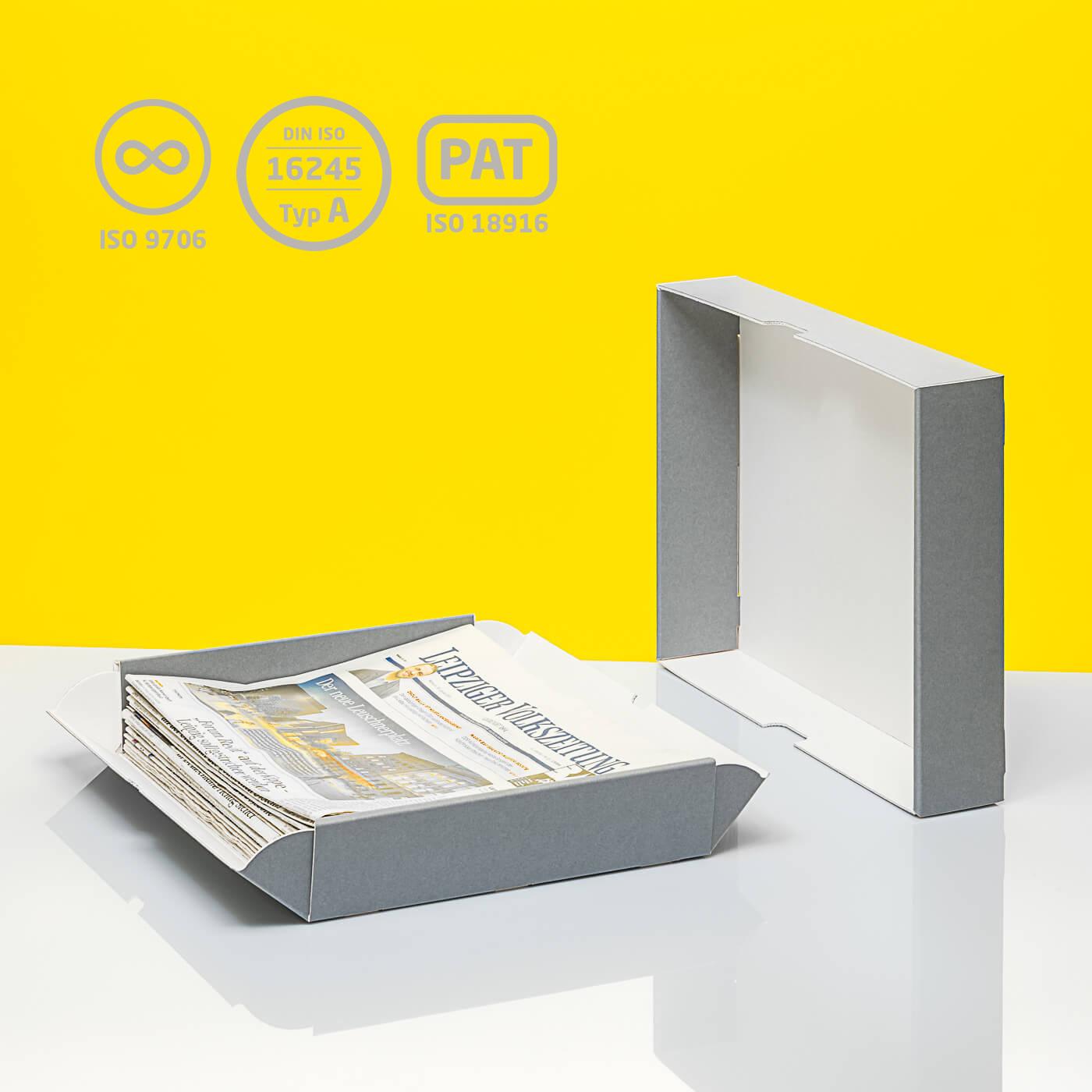 Stülpschachtel mit zwei aufklappbaren Seiten