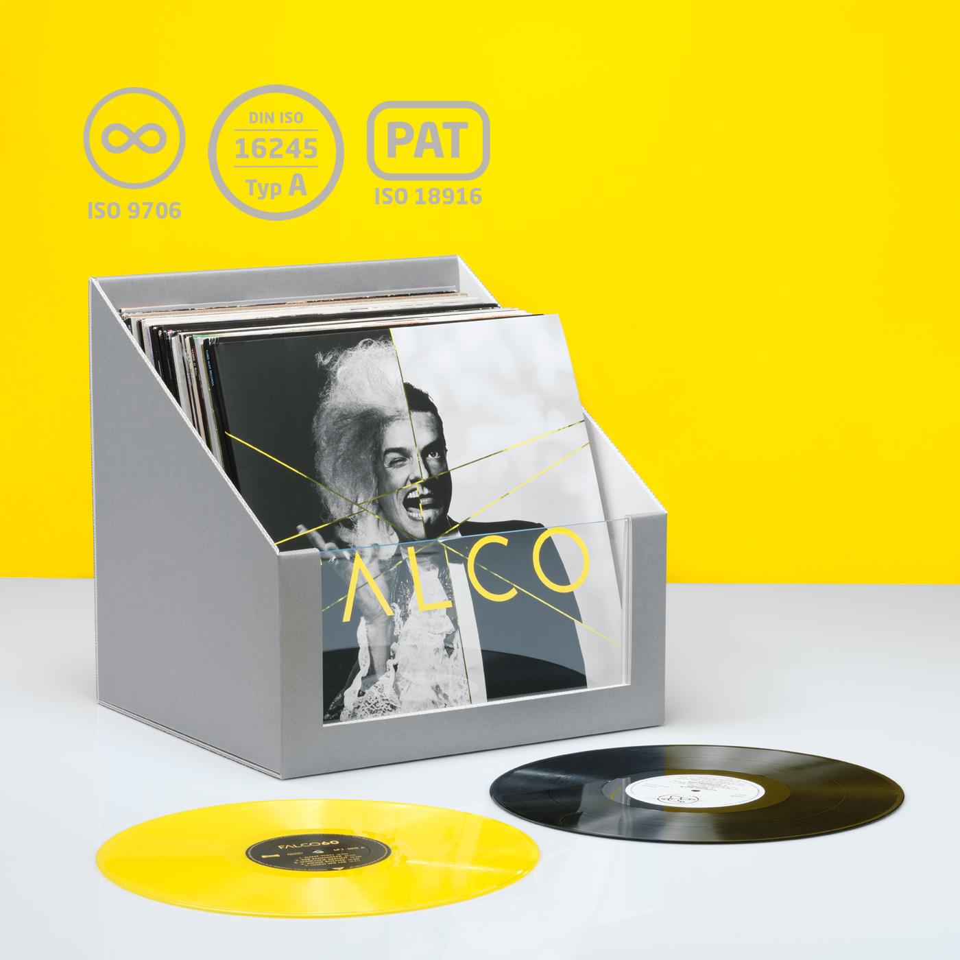 LP- und Single-Schallplattenbox mit Plexiglas-Sichtfenster
