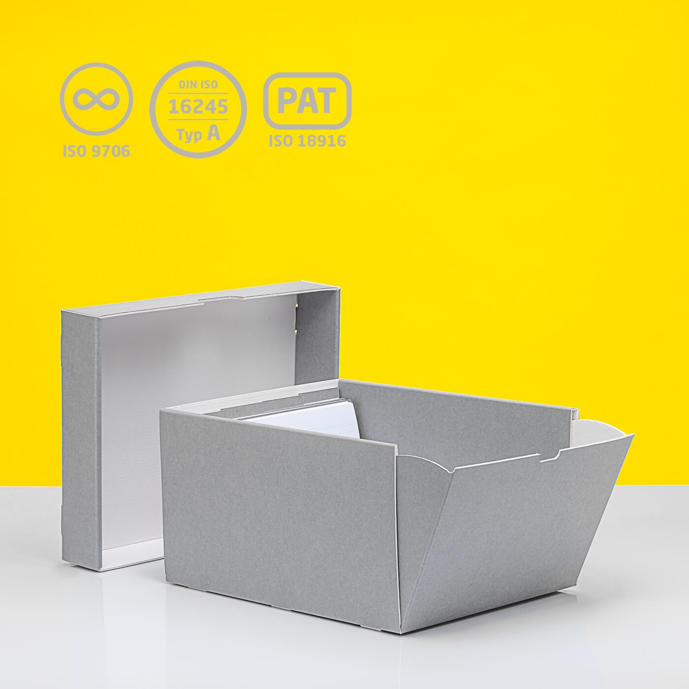Karteikartenbox mit aufklappbarer Seite und vier losen Stegen